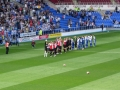Players emerge onto the magnificent Madejski Stadium pitch