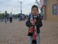 Thomas with sausage (2) - outside the Madejski Stadium, Reading